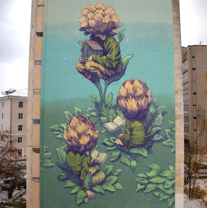 New Surreal Paintings and Murals by Rustam Qbic surreal street art painting murals