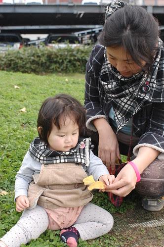 Miyu and me with my handmade snoods.