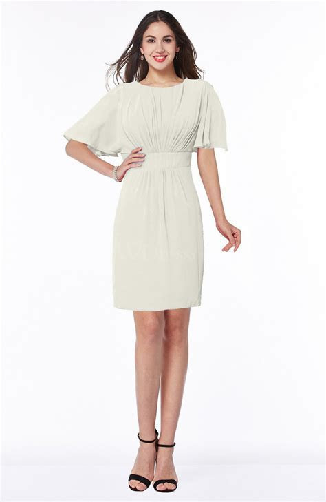 Cream Modest Sheath Zip up Chiffon Short Plus Size