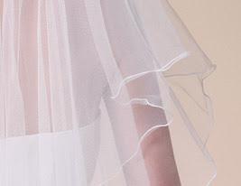 two-tier véu do casamento cotovelo com a borda do lápis