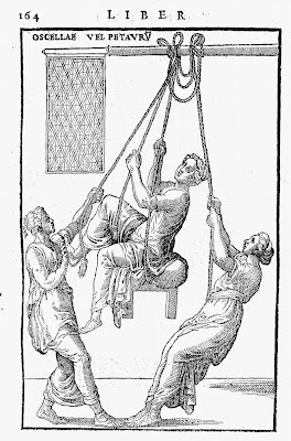women exercising in ancient times on swings