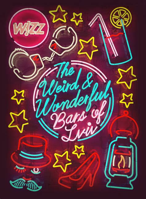 bright funky neon typography designs web graphic