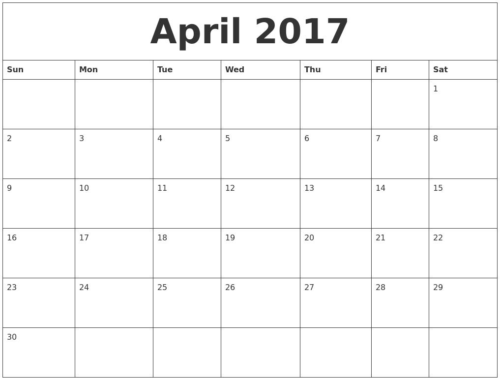 April 2017 Printable Daily Calendar