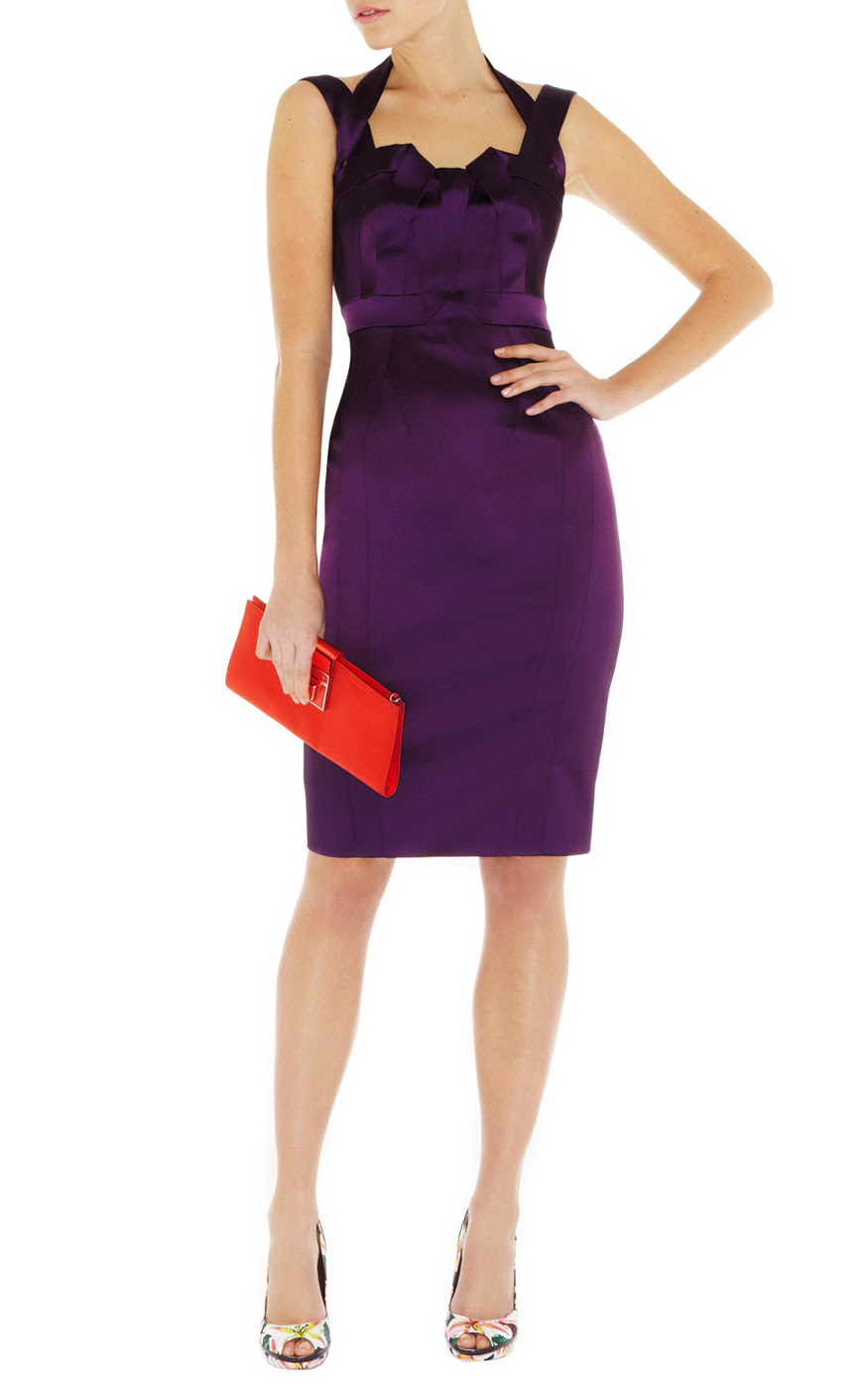 Karen millen purple feminine satin bodycon dress