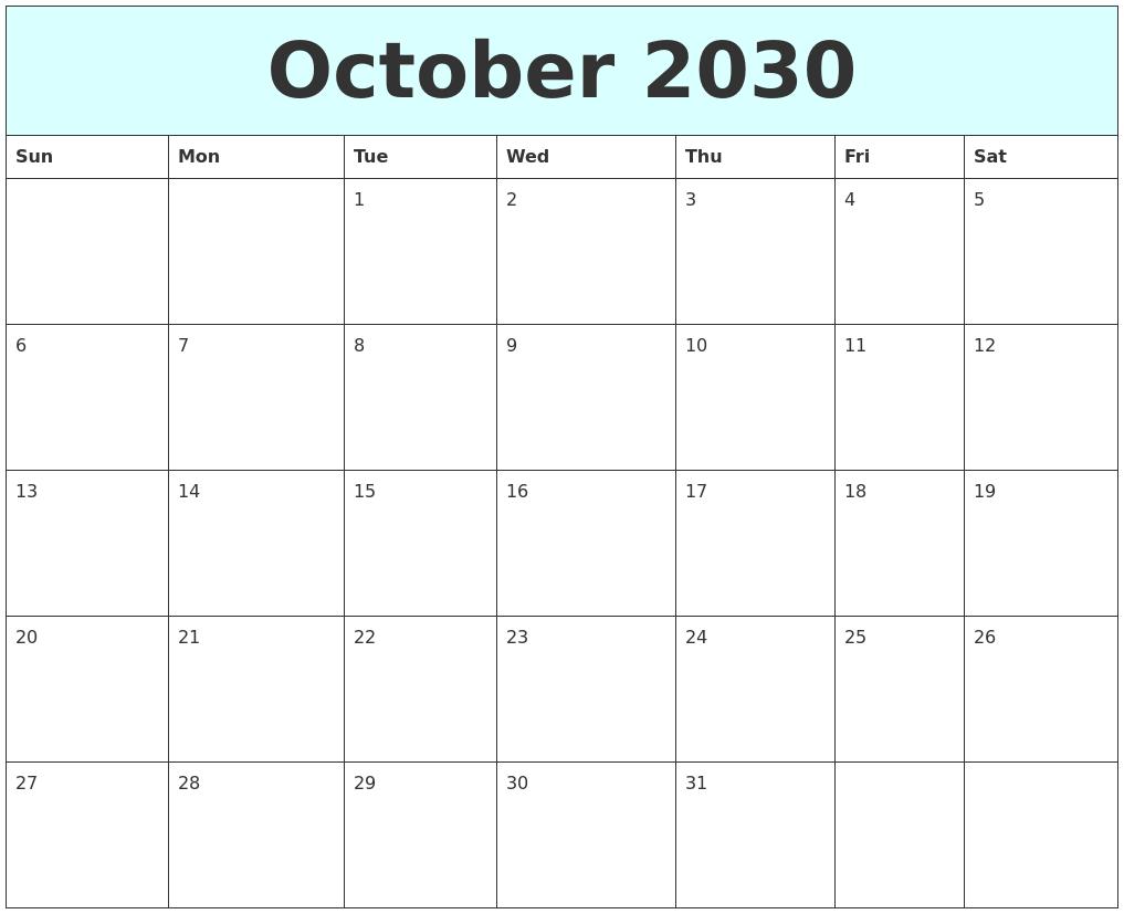 october 2030 free calendar