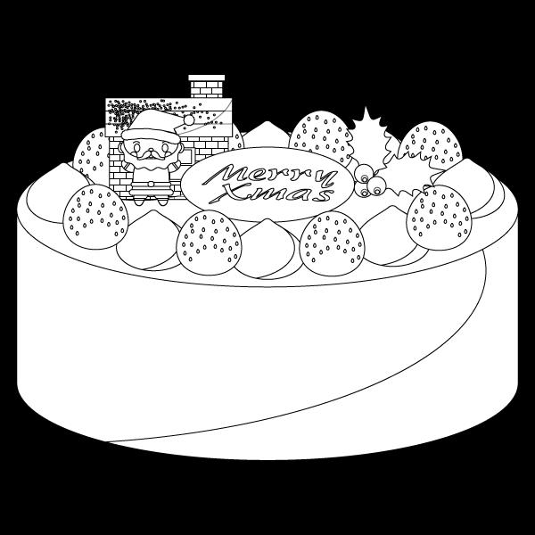 塗り絵に最適な白黒でかわいいクリスマスケーキの無料イラスト商用