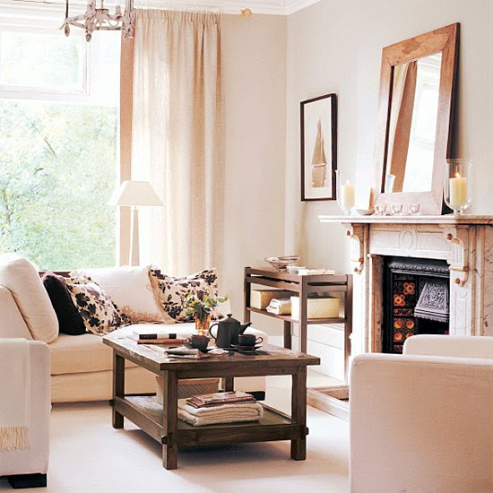 Living room with cream and chocolate colour scheme ...