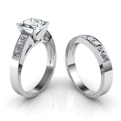 Princess Cut Channel Set Engagement Ring & Wedding Band