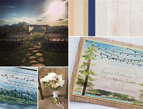 Rustic Watercolor Landscape Wedding Invitations   Momental