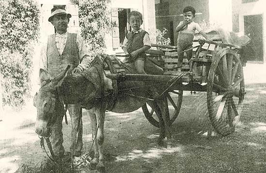 Olasz apa gyerekekkel és szamárral