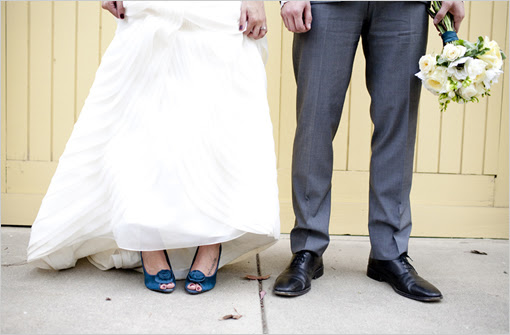 Show me pictures of your blue shoes with your wedding dress! :  wedding blue cobalt dress horizon inspiration pictures ivory royal blue sapphire shoes Bride And Blue Shoes
