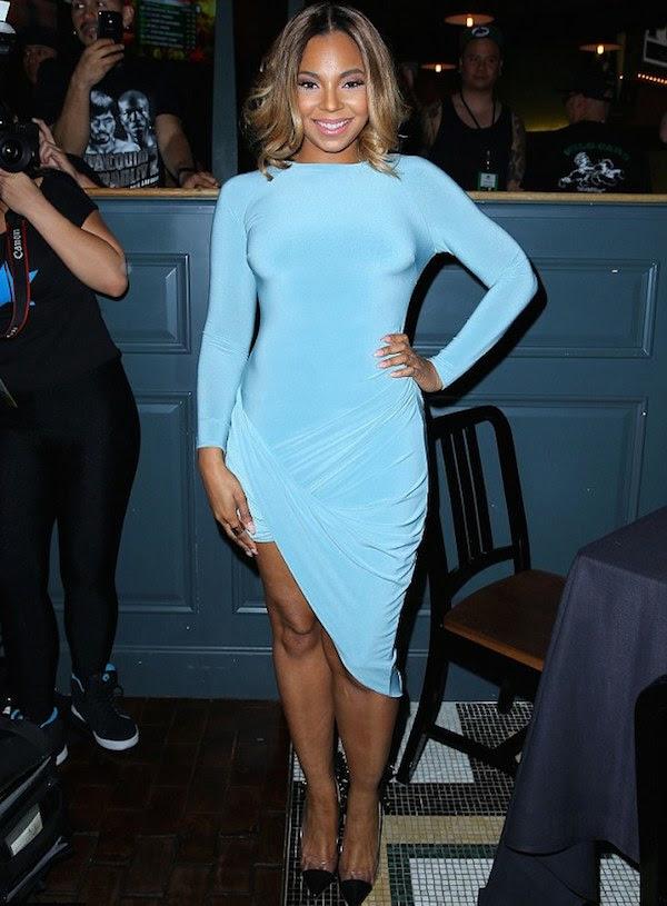 Ashanti's Pacquiao vs. Bradley Fight Celebboutique Amara Turquoise Blue Draped Long Sleeve Dress