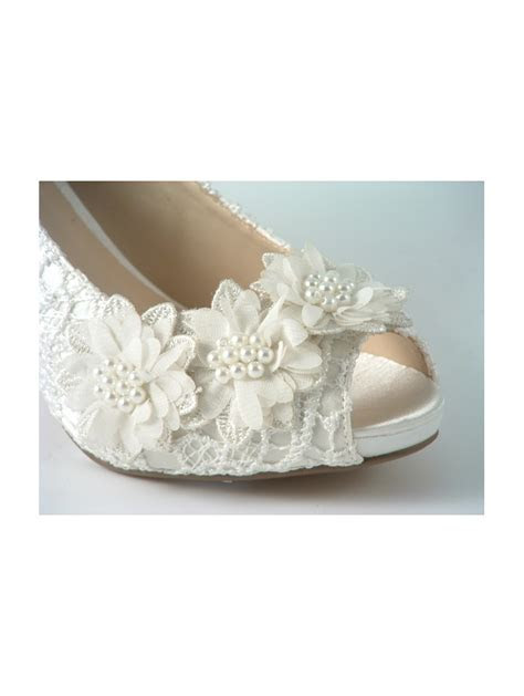Lace Wedding Shoes Peep Toe Crystal Heel and Flower Trim