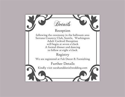 DIY Wedding Details Card Template Download Printable