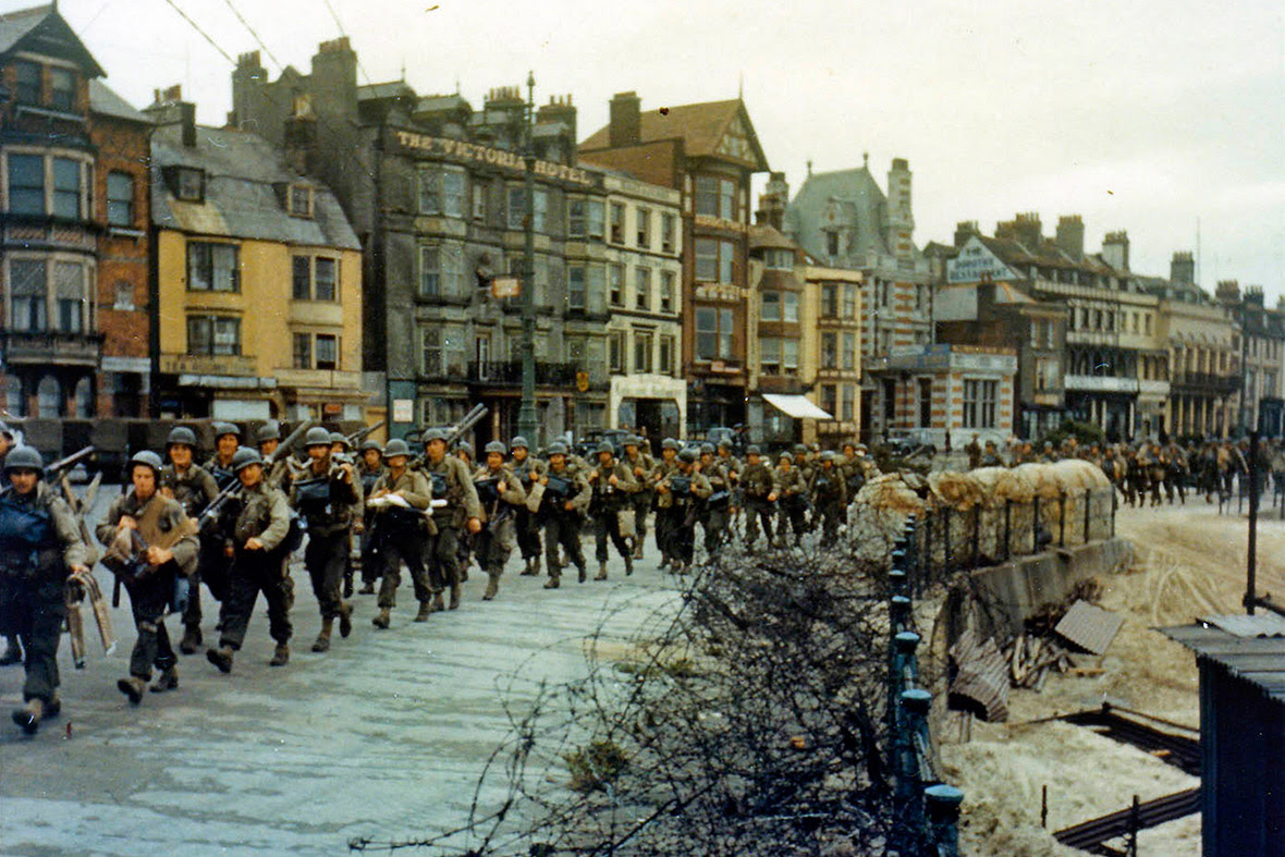 June 5, 1944: The 2nd Battalion US Army Rangers march to their landing craft in Weymouth, England. They were tasked with capturing the German heavy coastal defence battery at Pointe du Hoc to the west of the D-Day landing zone of Omaha Beach