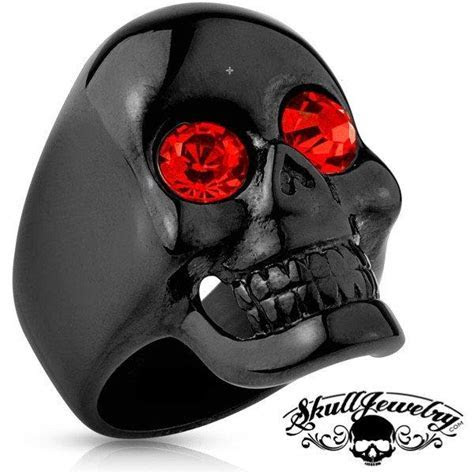 """Best of Both Worlds"" Black Skull Ring w/ Red Gem Eyes"
