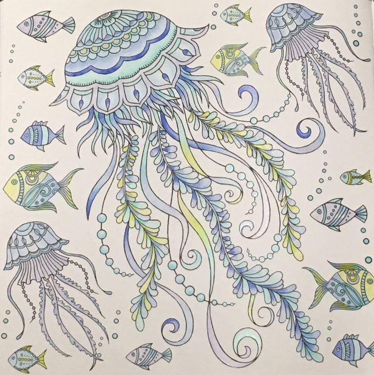 完成ダイソー 大人の塗り絵marine Life1 私にまつわるエトセトラ