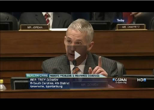 Congressman Trey Gowdy questioning Todd Y. Park on Nov. 18, 2013 about the failed Obamacare website launch