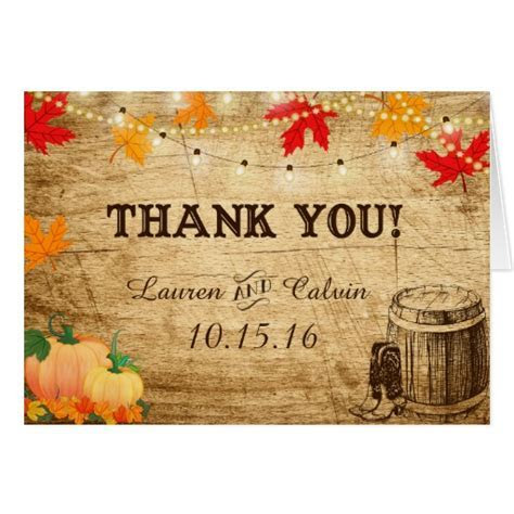 Fall Wedding Thank You Card for a Rustic Wedding   Zazzle