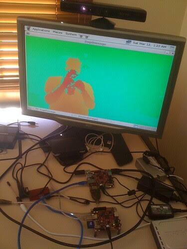 #beagleboard xM now works fine with kinect + opencv just need gles demos