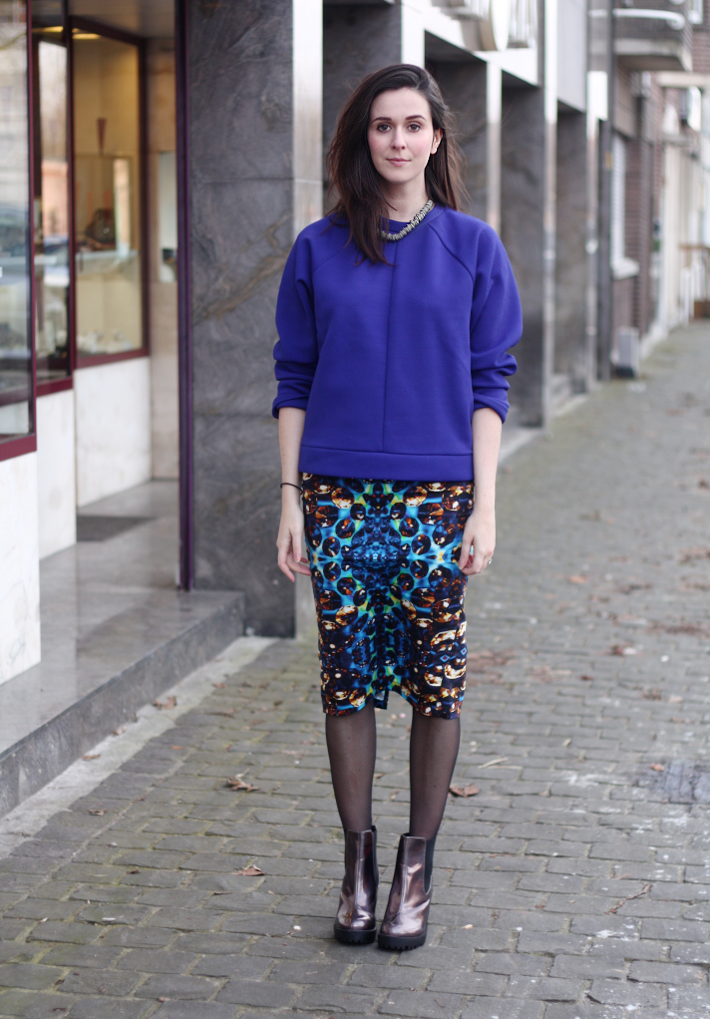 Neoprene Sweater, Jewel Print Pencil Skirt, Holographic Boots and Consumerism