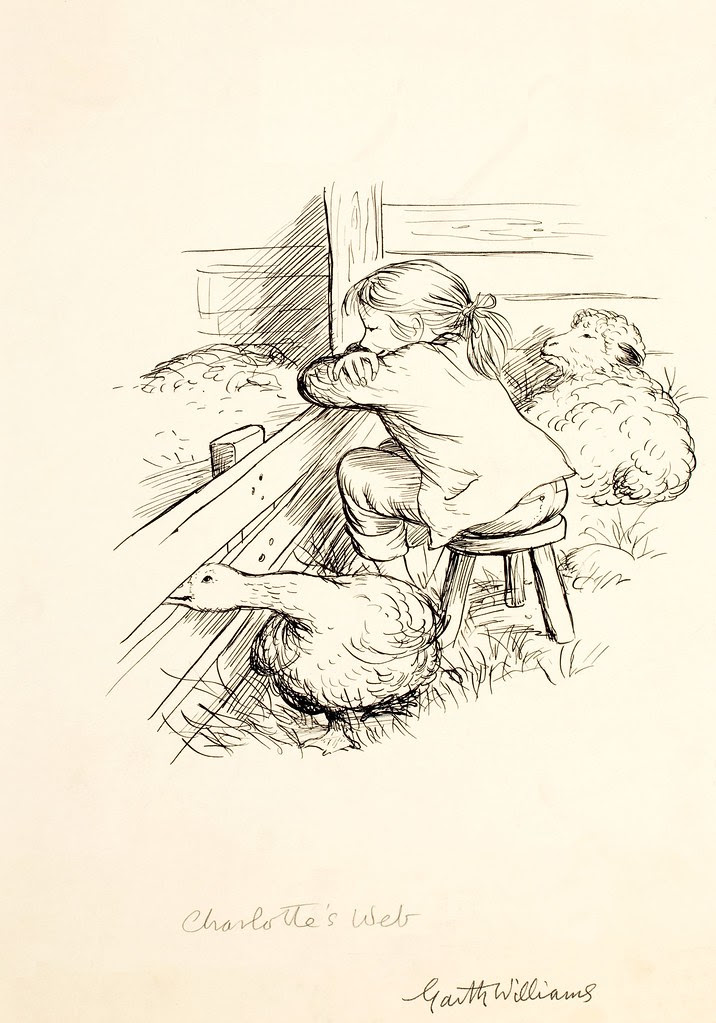 drawing of girl goose + pig by garth williams