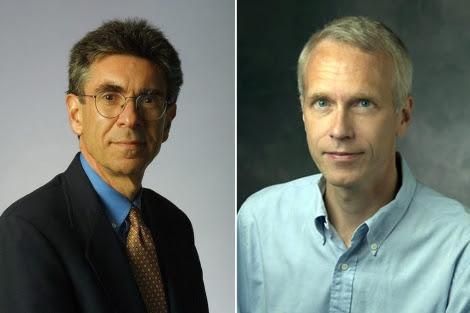 Robert J. Lefkowitz, a la izquierda, y Brian Kobilka, premios Nobel de Química 2012.   Efe