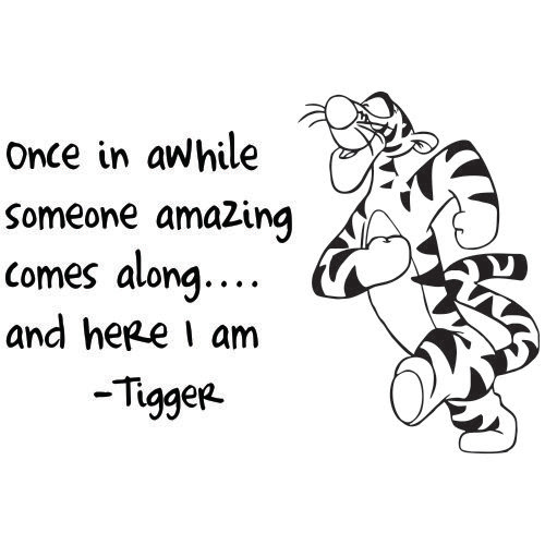 THA WONDERFUL THING ABOUT TIGGERTHS ITH THAT TIGGERTHS ARE WONDERFUL THINGTHS; THEIR TOPTHS ARE MADE OUT OF RUBBER THEIR BOTTOMTHS ARE MADE OUT OF SPRINGTHS.  WE'RE FLOUNCY BOUNCY TROUNCY POUNCY FUN FUN FUN FUN FUN!  THE WONDERFUL THING ABOUT TIGGERTHS IS I'M THE ONLY ONE..... IIIIIII'M THE ONLY ONE!