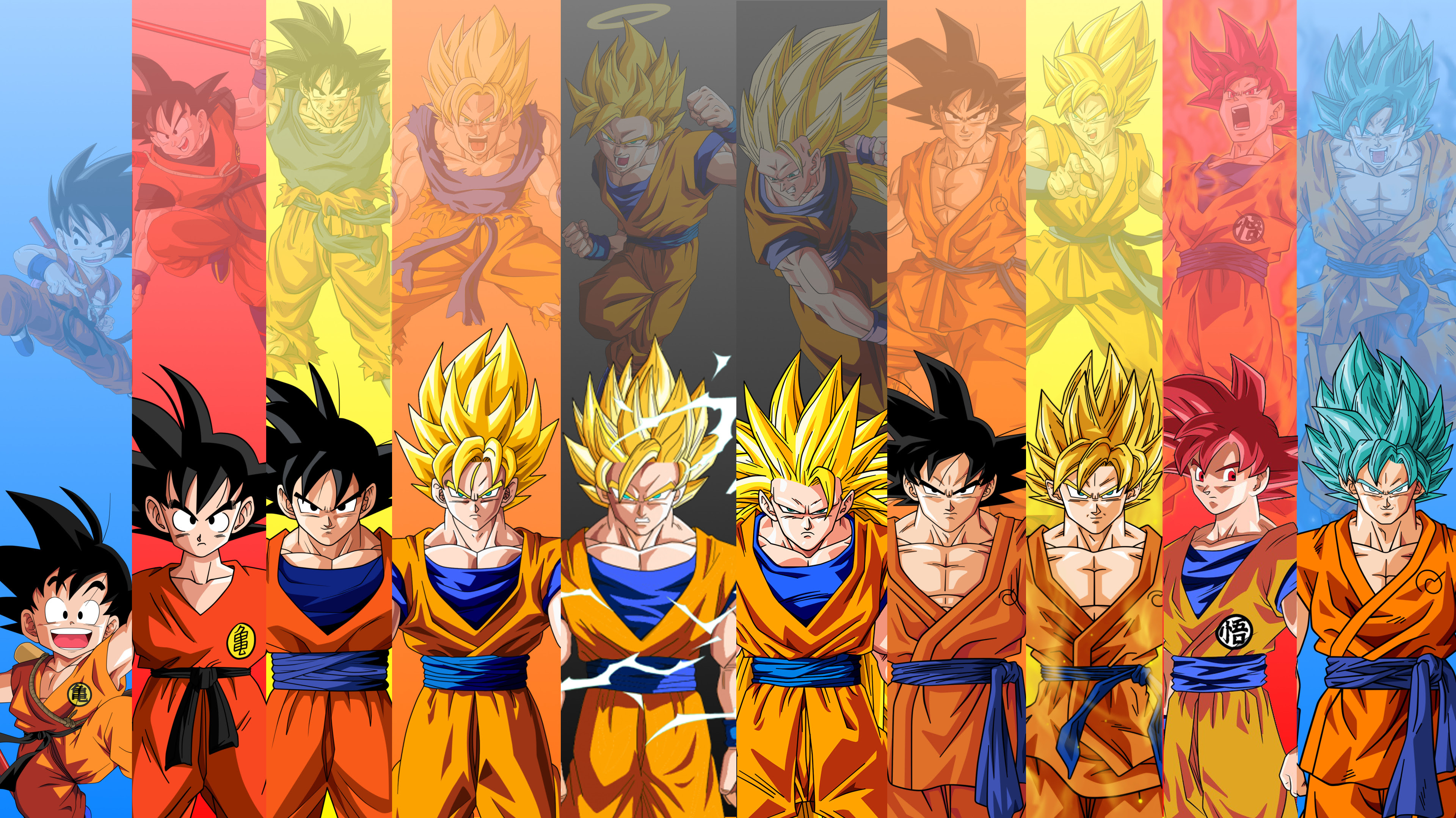 Just Made This 4k Wallpaper Featuring 10 Forms Of Goku From Db