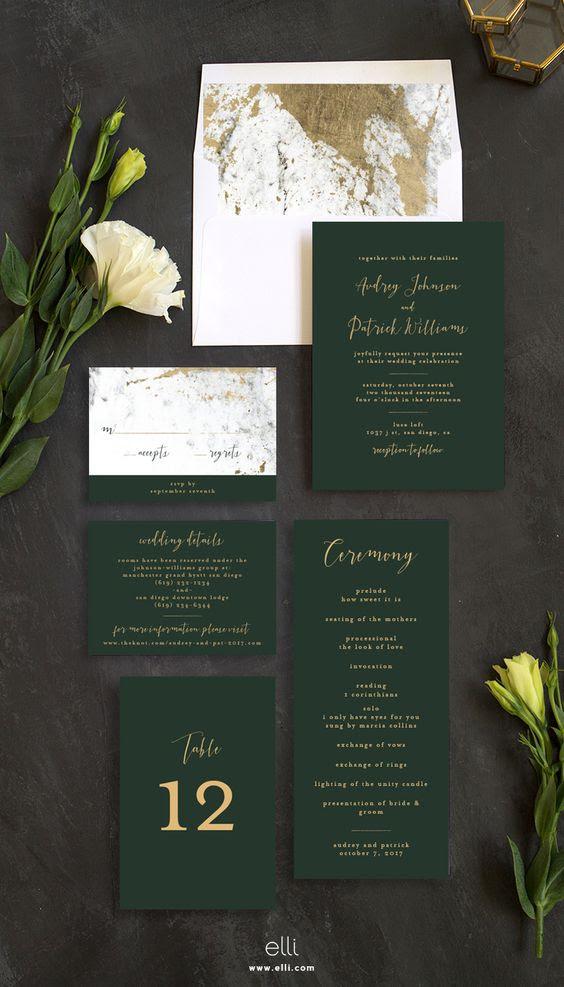 Smaragd-und gold-Hochzeit Einladung-suite mit Marmor-Muster sieht sehr schick und raffiniert