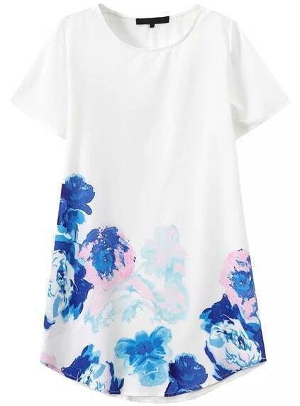 Short Sleeve Flower Print Shift Dress pictures