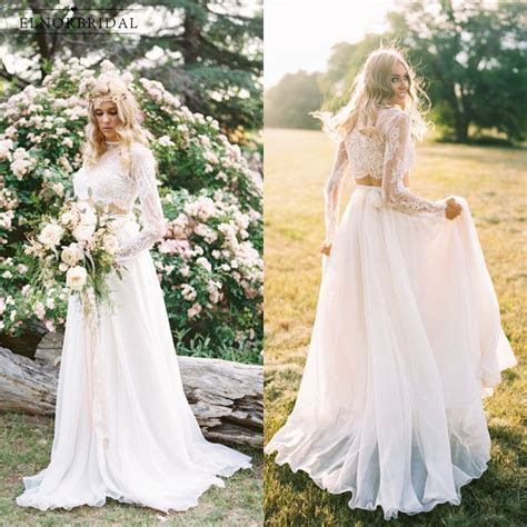Boho Lace Wedding Dresses 2018 Casamento Country Style