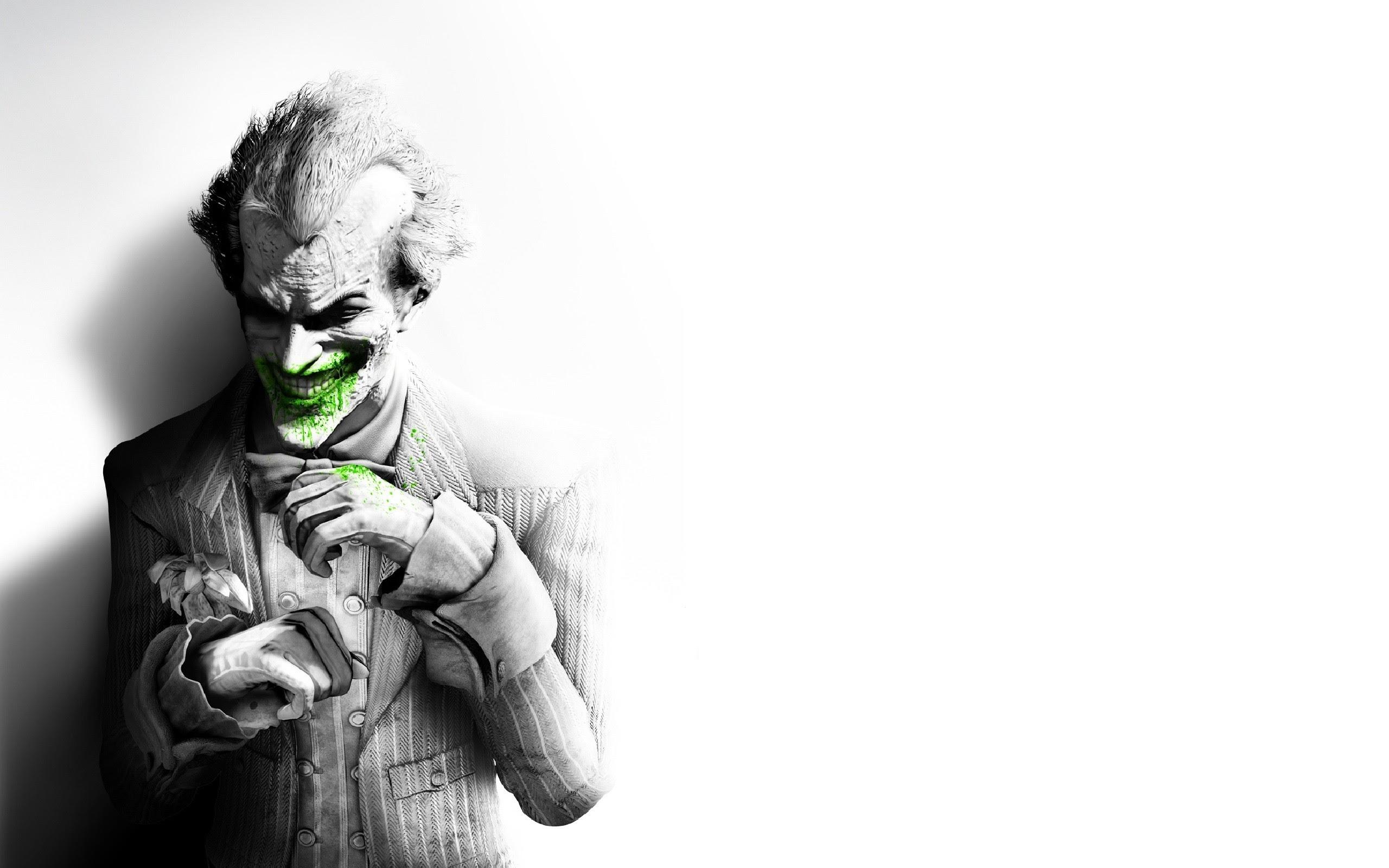 Batman Arkham City Joker Smile Suit Flower Fan Art Black And