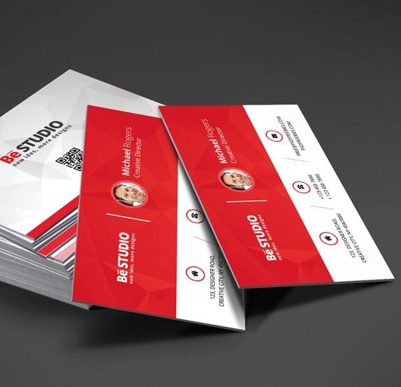 Free Download Template Business Card PSD - Red with White
