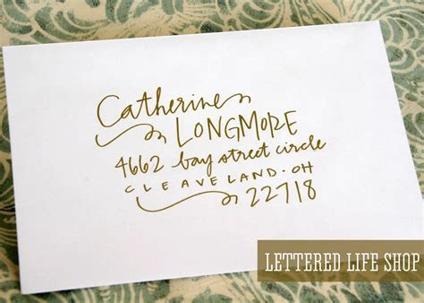 Wedding Calligraphy Envelope Addressing   Gold Modern