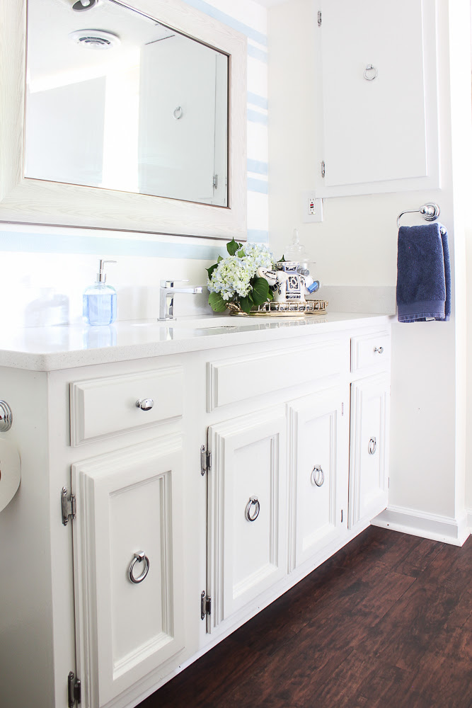 Blue And White Bathroom Remodel On A Budget
