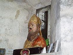 Buste de Saint Sulpice dans l'église de Saint Sulpice de Favières (Essonne)