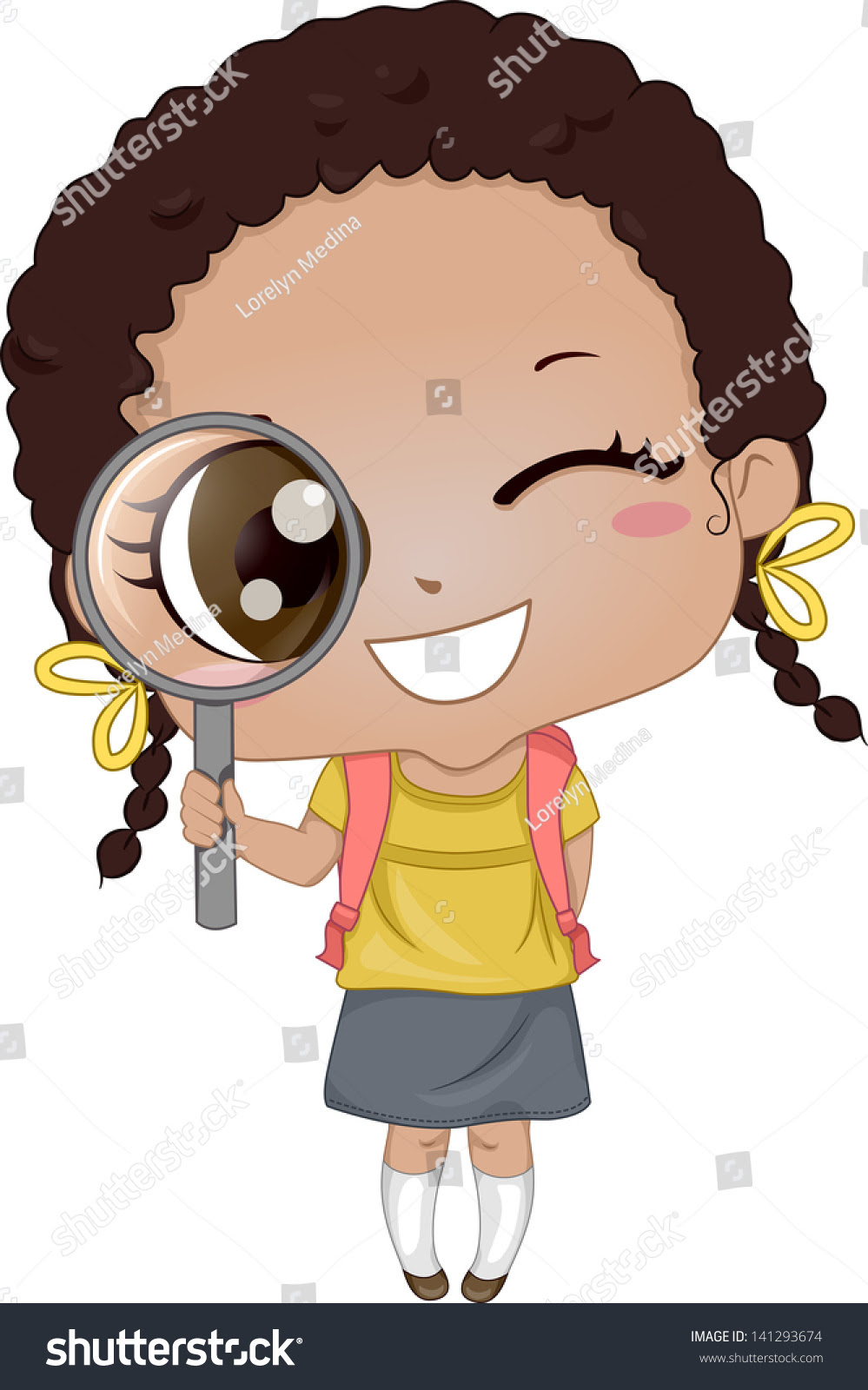 Download Illustration Of Cute African-American Girl Holding A ...