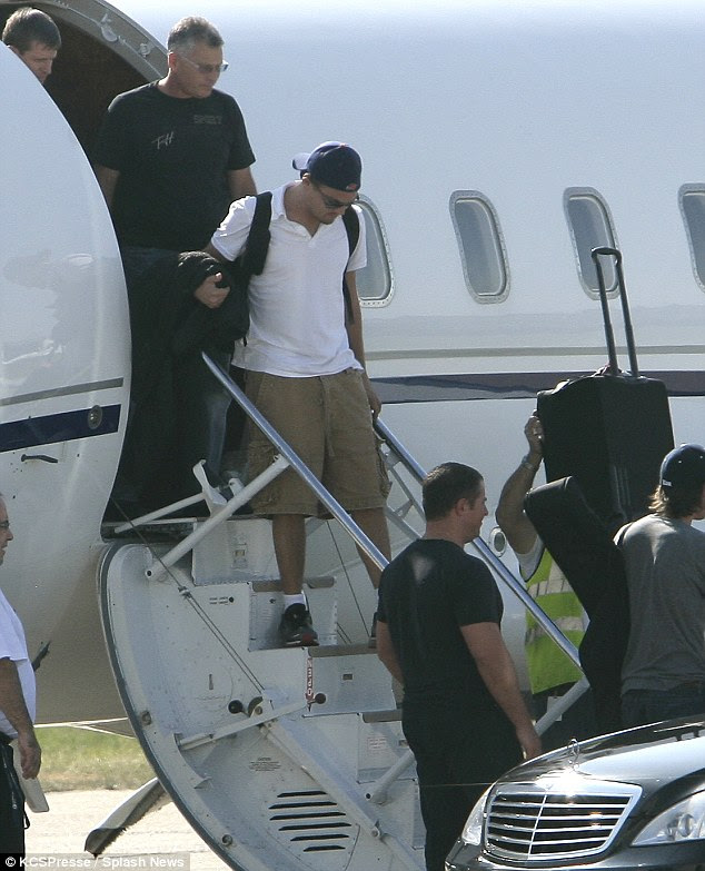 Traveling in style: Leonardo DiCaprio has been an advocate for environmental preservation while continuing to fly around the world in private planes. The actor is seen here disembarking from a private jet in Paris in 2009