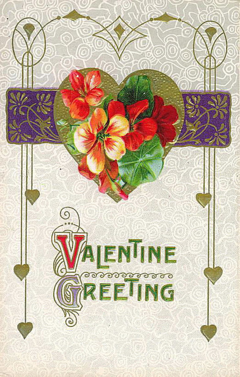 Double-click to see larger version I Free Victorian valentine greeting with scrollwork, a gold heart and flowers