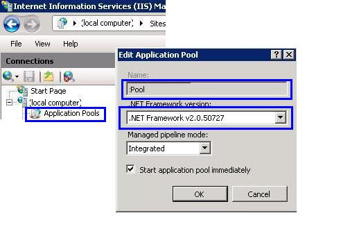 how to change the application pool in iis7