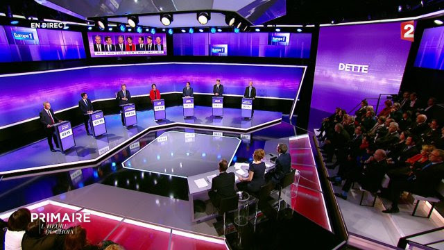 Primary from the left : third televised debate. L'decision Time on France 2 on January 19, 2017. The 7 candidates for the'presidential election of 2017 met sir the board: François De Rugy, Manuel Valls, Arnaud Montebourg, Sylvia Pinel, Benoit Hamon, Vincent Peillon and Jean-Luc Benhamias. © Photo l'Is a Republican
