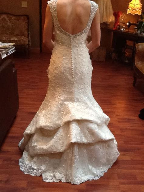 waterfall bustle with the lining on mermaid style wedding
