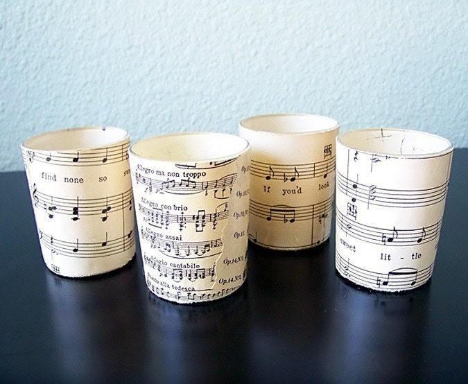 Sheet Music Tea Lights