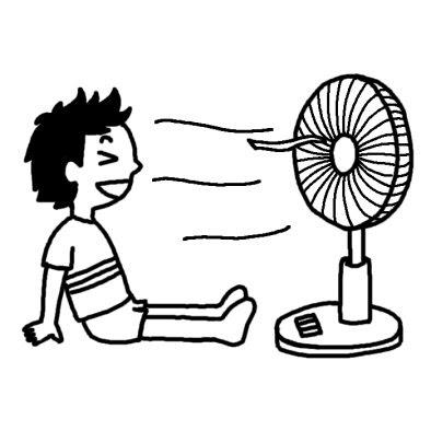 扇風機夏休み夏の行事学校無料白黒イラスト素材