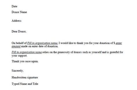 thank you donation letter template   Non profit work