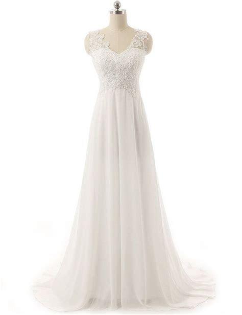 New White/Ivory Chiffon Lace Beach Formal Wedding Dresses