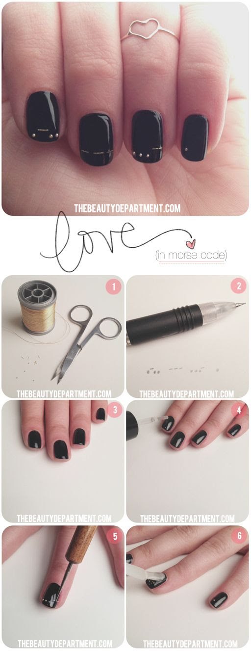 "Our newest Valentine's Day mani! It means ""LOVE"" in morse code. #nails #mani #nailart #love"
