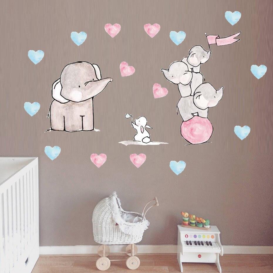 Cartoon elephant rabbit wall sticker cute funny Animal pattern for baby  room wall decorations living room kids room wall art