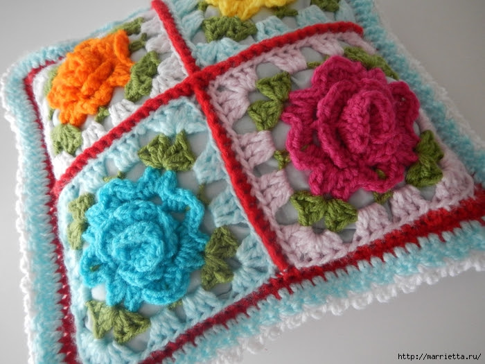 Crochet.  Tack with volume rose (12) (700x525, 301Kb)